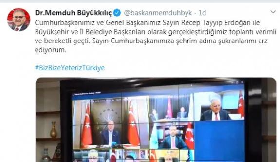 Başkan Büyükkılıç, Cumhurbaşkanı Erdoğan ile telekonferansla görüştü