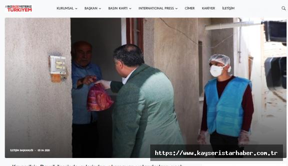 Develi Belediyesi, Cumhurbaşkanlığı sitesinde ve dezenfekte çalışması