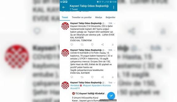Kayseri'de covid-19 durumu: 15 ölü, 70 yoğun bakım, 600 şüpheli, 291 tedavi