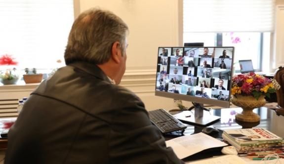 Melikgazi'de toplantı telekonferans ile yapıldı