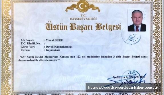 Develi Kaymakamı Duru'ya 'Üstün başarı belgesi' verildi