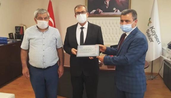 Sgk Yozgat İl Müdürü Keskin'den Kayseri Şeker'e Plaket