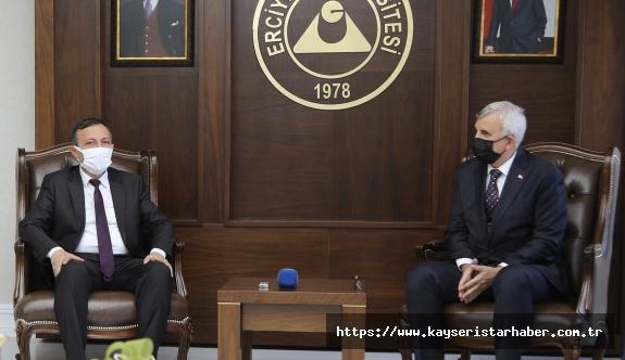 SBÜ Rektörü Prof. Dr. Cevdet Erdöl,  ERÜ Rektörü Prof. Dr. Mustafa Çalış'ı Ziyaret Etti...