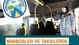 Pınarbaşı'nda ticari taksi ve minübüslere periyodik dezenfekte