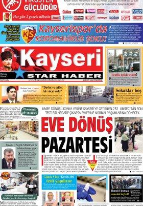 Kayseri Star Haber - 28.03.2020 Manşeti