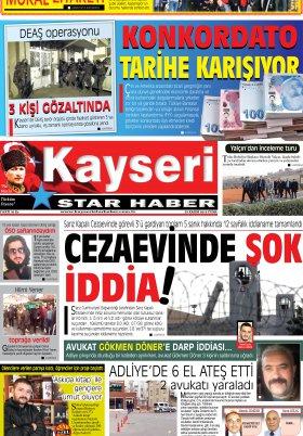 Kayseri Star Haber - 29.11.2019 Manşeti
